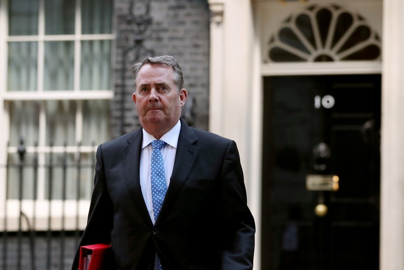 FILE PHOTO: Britain's Secretary of State for International Trade Liam Fox is seen outside Downing Street, as uncertainty over Brexit continues, in London