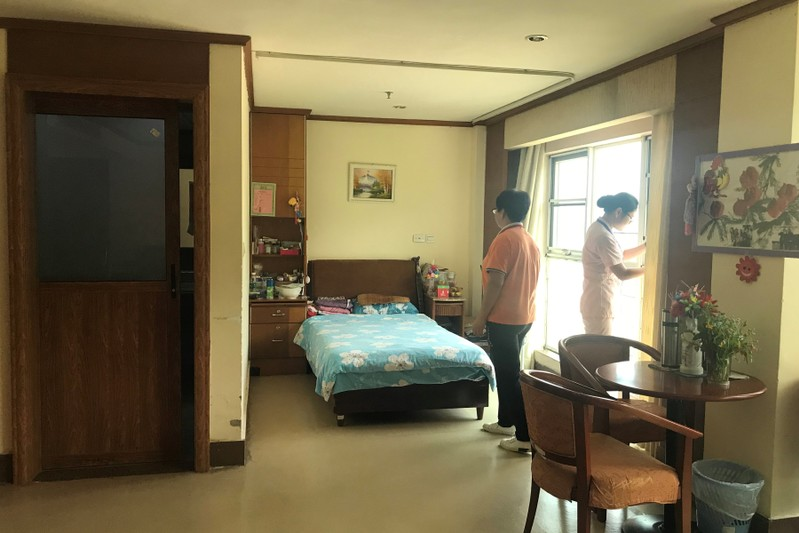 Bedroom in Yee Hong Heights, a senior care home managed by a Hong Kong charitable organization, in Shenzhen