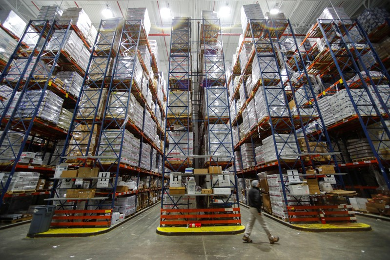 Imported frozen seafood, some from China, is shown housed in a large refrigerated warehouse at Pacific American Fish Company imports (PAFCO) in Vernon, California