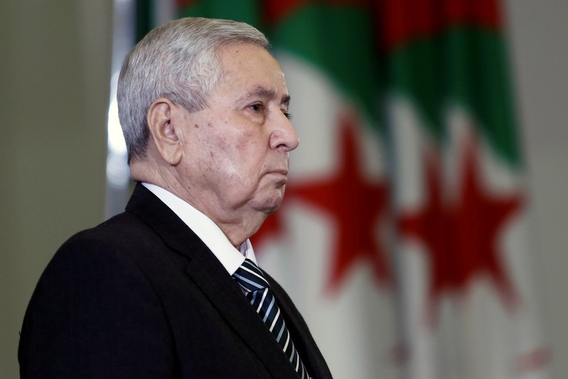 FILE PHOTO - Algerian upper house chairman Abdelkader Bensalah is pictured after being appointed as interim president by Algeria's parliament in Algiers