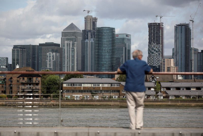 FILE PHOTO: A man looks out onto the Canary Wharf financial district in London