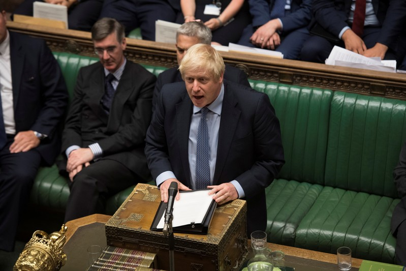 Britain's Prime Minister Boris Johnson speaks during debate in the House of Commons in London