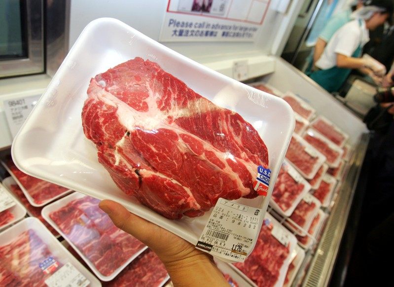 FILE PHOTO: Packed U.S. beef is displayed at supermarket in Chiba, east of Tokyo