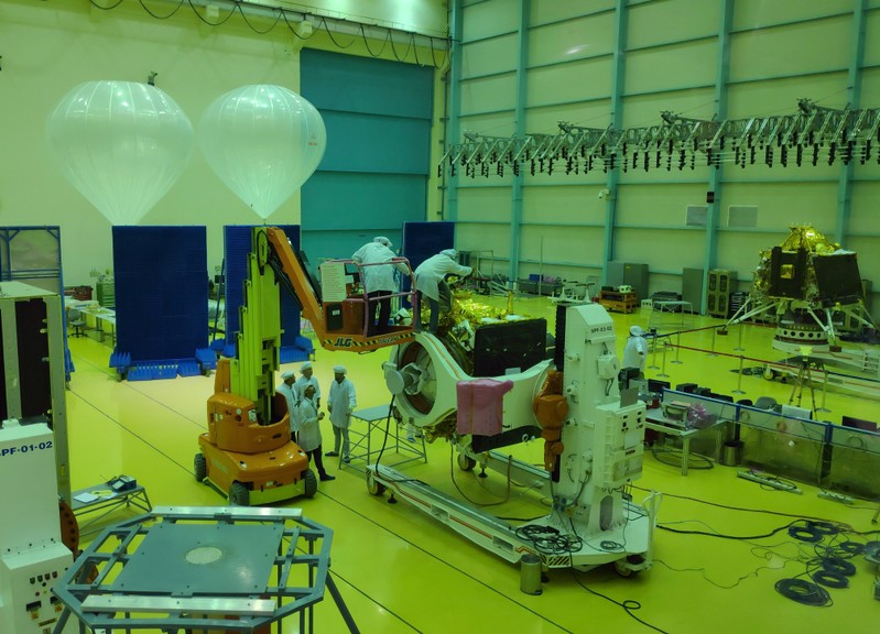FILE PHOTO: Indian Space Research Organization (ISRO) scientists work on various modules of lunar mission Chandrayaan-2 at ISRO Satellite Integration and Test Establishment (ISITE) in Bengaluru