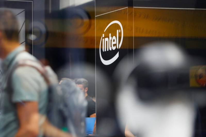 FILE PHOTO: The Intel logo is shown at E3, the world's largest video game industry convention in Los Angeles