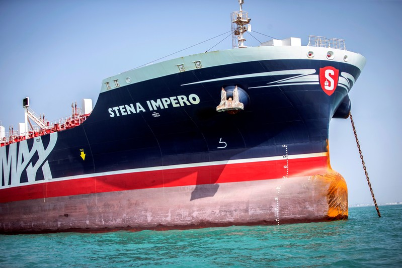 FILE PHOTO: Stena Impero, a British-flagged vessel owned by Stena Bulk, is seen at undisclosed place off the coast of Bandar Abbas