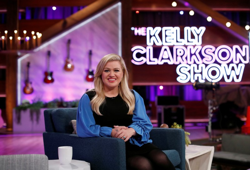 Singer Clarkson poses for a portrait on the set of The Kelly Clarkson Show in North Hollywood