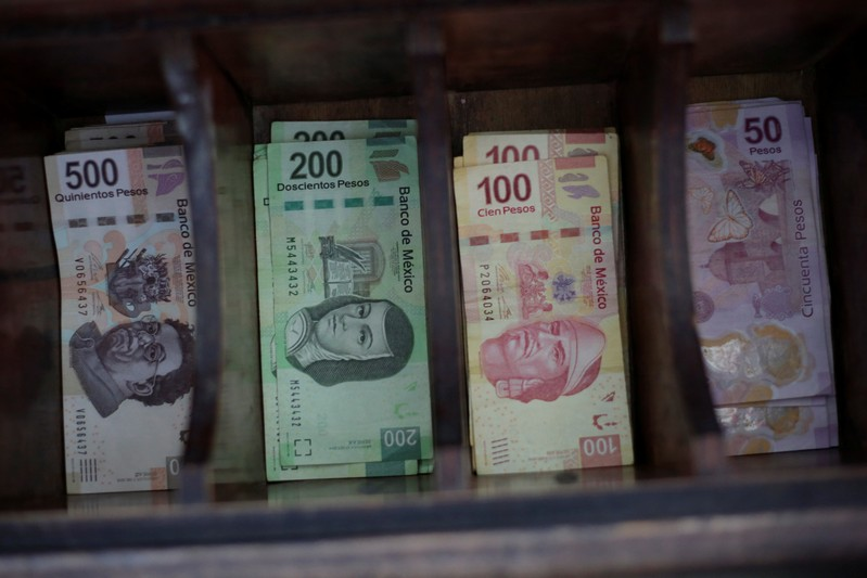 Mexican peso banknotes are pictured at a currency exchange shop in Ciudad Juarez
