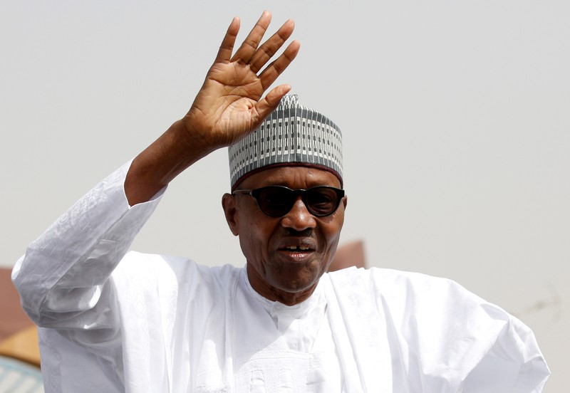 FILE PHOTO: Nigeria's President Buhari greets his supporters after Friday prayers in his hometown Daura