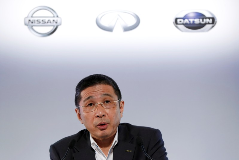 FILE PHOTO - Nissan CEO Hiroto Saikawa attends a news conference in Yokohama