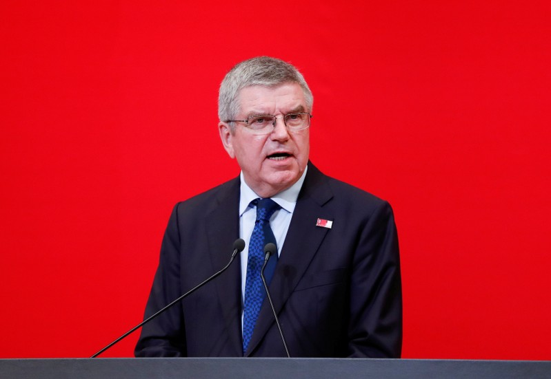 FILE PHOTO: IOC President Bach speaks during the 'One Year to Go' ceremony celebrating one year out from the start of the summer games in Tokyo