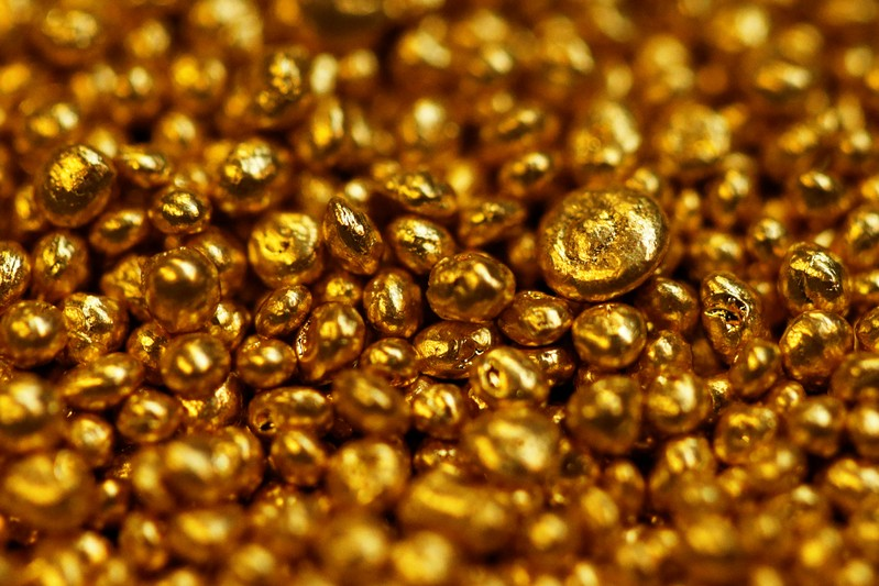 FILE PHOTO : Gold granulate is seen at a plant of a gold refiner and bar manufacturer in the southern Swiss town of Balerna