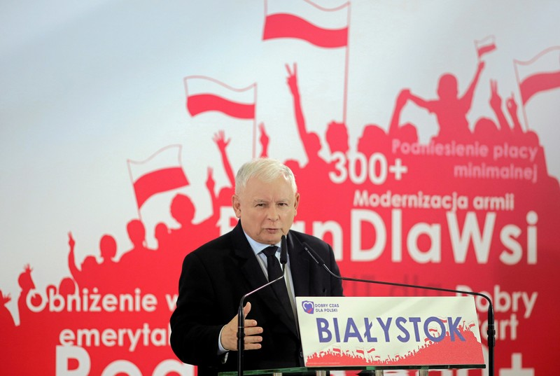 Poland's Law and Justice leader Jaroslaw Kaczynski speaks during a party convention in Bialystok