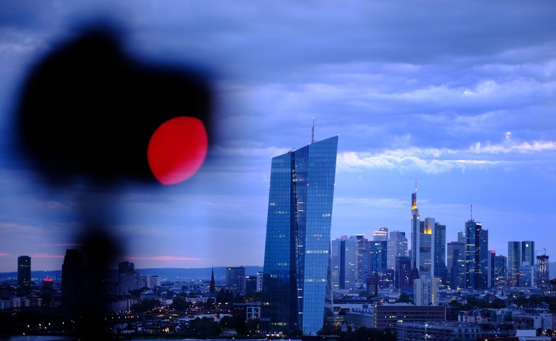 The skyline is photographed in Frankfurt