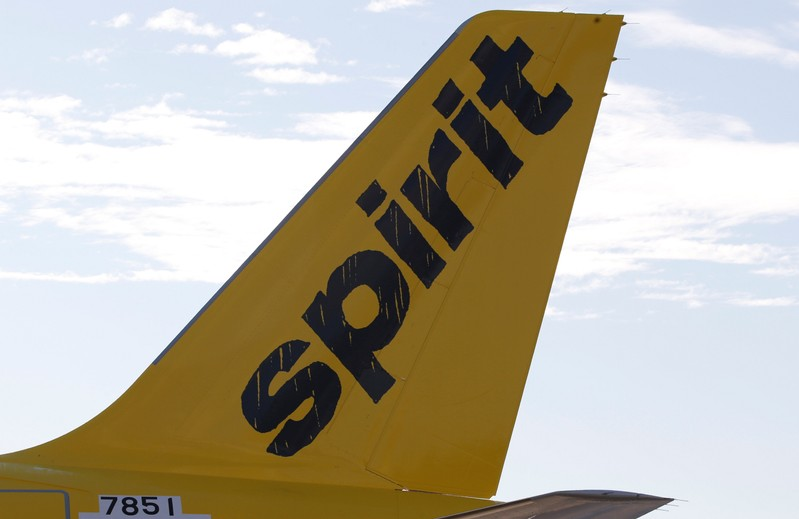 FILE PHOTO: A logo of low cost carrier Spirit Airlines is pictured on an Airbus plane in Colomiers near Toulouse