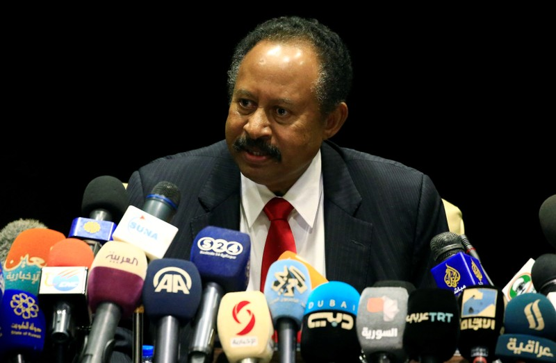 Sudan Prime Minister Abdalla Hamdok speaks during joint press conference with German Foreign Minister Heiko Maas in Khartoum