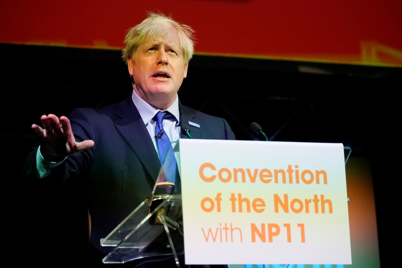 Britain's Prime Minister Boris Johnson speaks during the Convention of the North at the Magna Centre in Rotherham