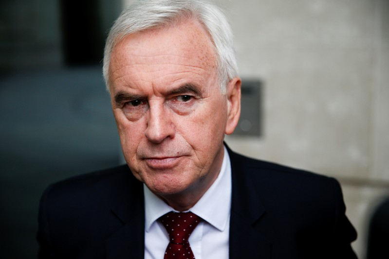 FILE PHOTO: British Labour politician John McDonnell speaks to media outside the BBC headquarters after appearing on the Andrew Marr show in London