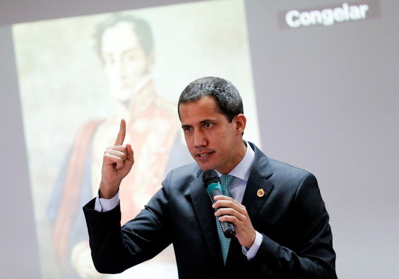 Venezuelan opposition leader Juan Guaido, who many nations have recognized as the country's rightful interim ruler, attends a session of Venezuela's National Assembly in Caracas
