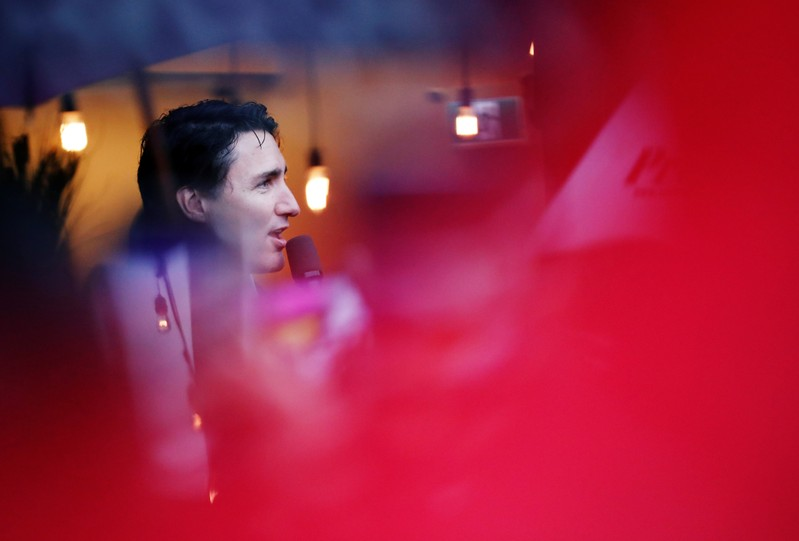Liberal leader and Canadian Prime Minister Justin Trudeau campaigns for the upcoming election, in Port Moody, British Columbia