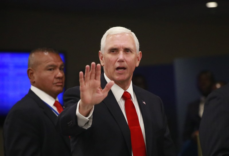 U.S. Vice President Mike Pence arrives ahead of the start of the 74th session of the United Nations General Assembly at U.N. headquarters in New York City, New York, U.S.