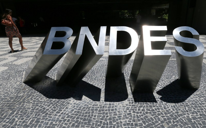 A sign at the main entrance of the Brazilian National Development Bank (BNDES) building is seen in Rio de Janeiro