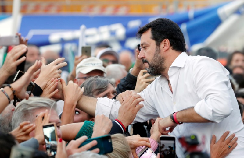 Italy's League Party holds an anti-government demonstration in Rome