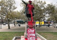 Statues of Christopher Columbus vandalized amid controversy over the holiday