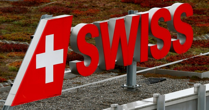 FILE PHOTO: Logo of Swiss airlines is seen at Zurich airport