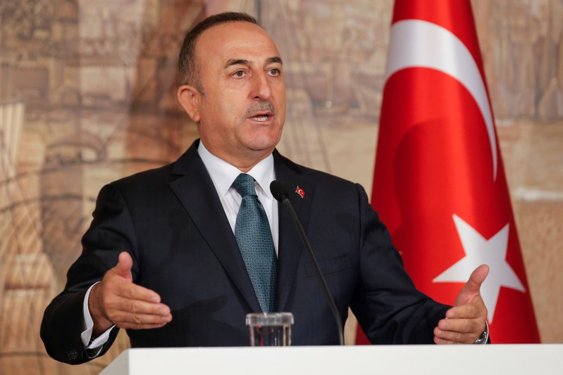 Turkish Foreign Minister Mevlut Cavusoglu attends a news conference in Istanbul