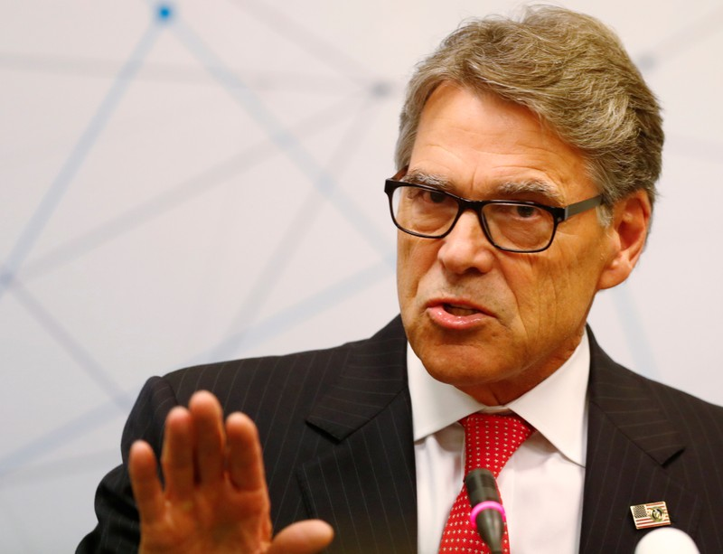 U.S. Secretary of Energy Rick Perry speaks during a news conference in Vilnius