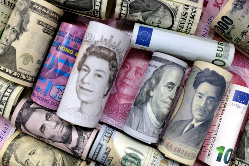FILE PHOTO: Euro, Hong Kong dollar, U.S. dollar, Japanese yen, British pound and Chinese yuan banknotes are seen in this picture illustration