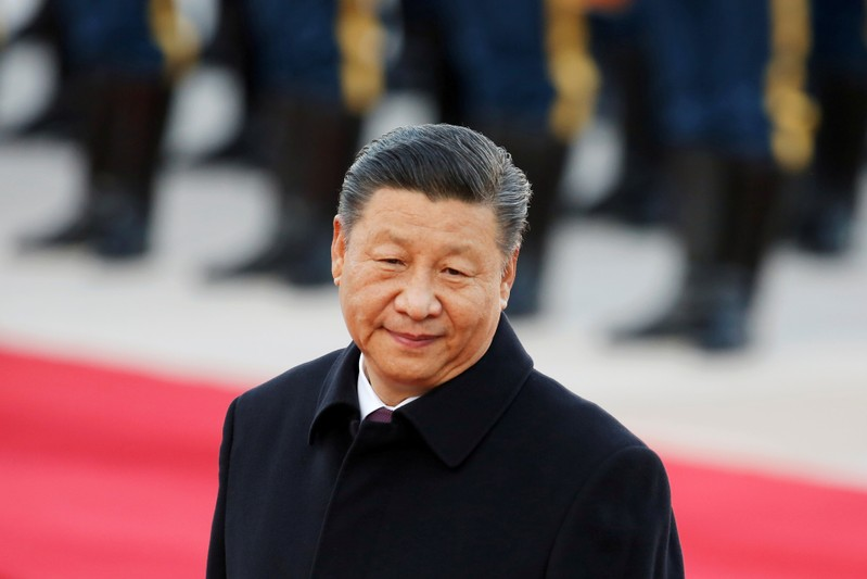 FILE PHOTO: Chinese President Xi Jinping attends a welcome ceremony outside the Great Hall of the People in Beijing, China