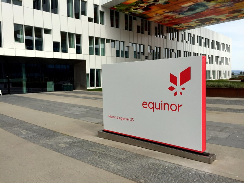 A logo of Equinor, formerly known as Statoil, is seen at the company's headquarters in Fornebu
