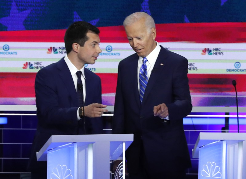 Candidates talk during the second night of the first U.S. 2020 presidential election Democratic candidates debate in Miami, Florida, U.S.