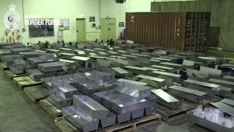 Still image from an Australian Border Force handout video shows some of the 200 aluminium barbeques used to smuggle 645kg of MDMA in Sydney