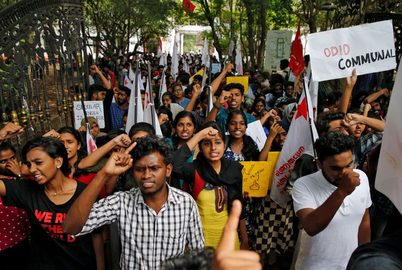 Students shout slogans during a protest march against a new citizenship law, in Kochi