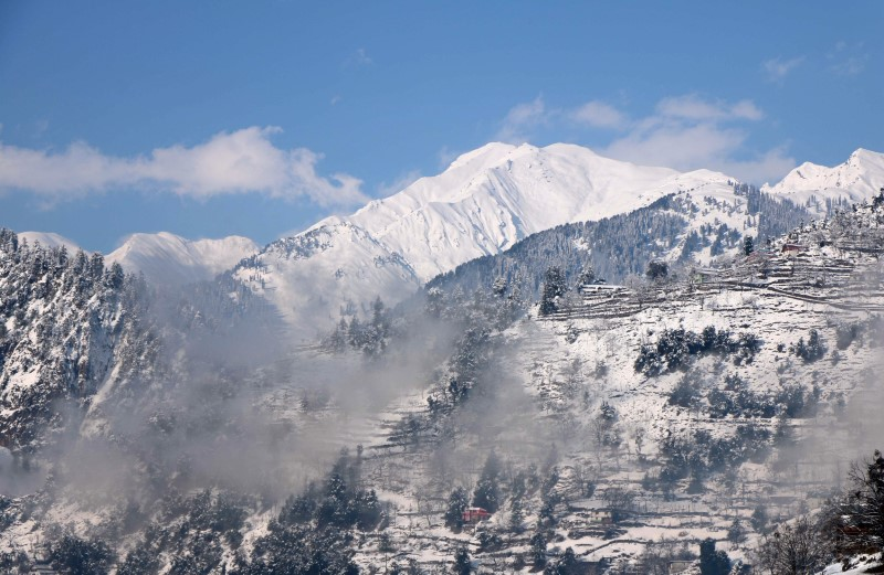 A general view of snow-covered mountains after a heavy snowfall in Neelum Valley