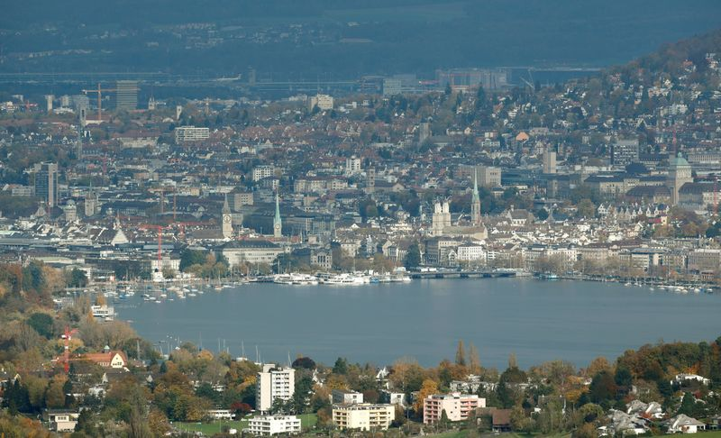 FILE PHOTO: General view shows Lake Zurich and the city of Zurich