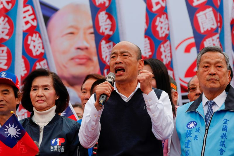 Opposition Nationalist Kuomintang Party (KMT) candidate Han Kuo-yu speaks during an election campaign in Yilan