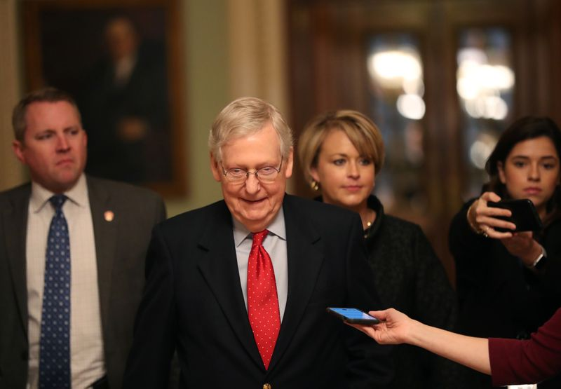 FILE PHOTO: Majority Leader Mitch McConnell on Capitol Hill