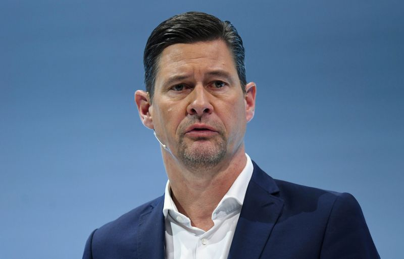 Harald Wilhelm, CFO of German luxury car manufacturer Daimler AG, speaks at the annual results news conference