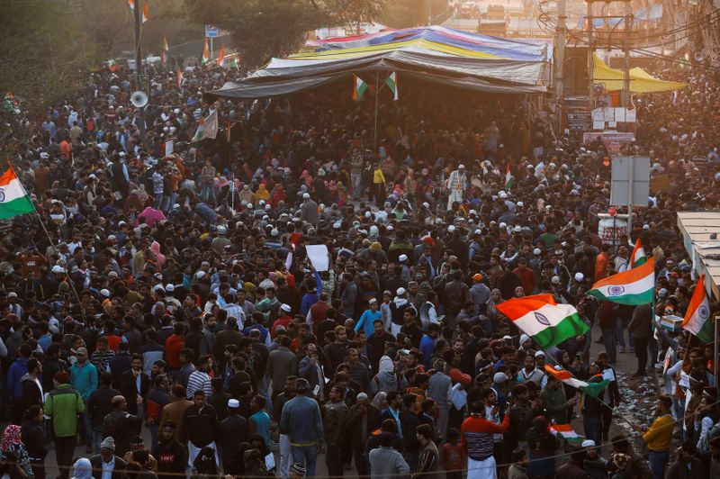 Demonstrators attend a protest against a new citizenship law in Shaheen Bagh, area of New Delhi