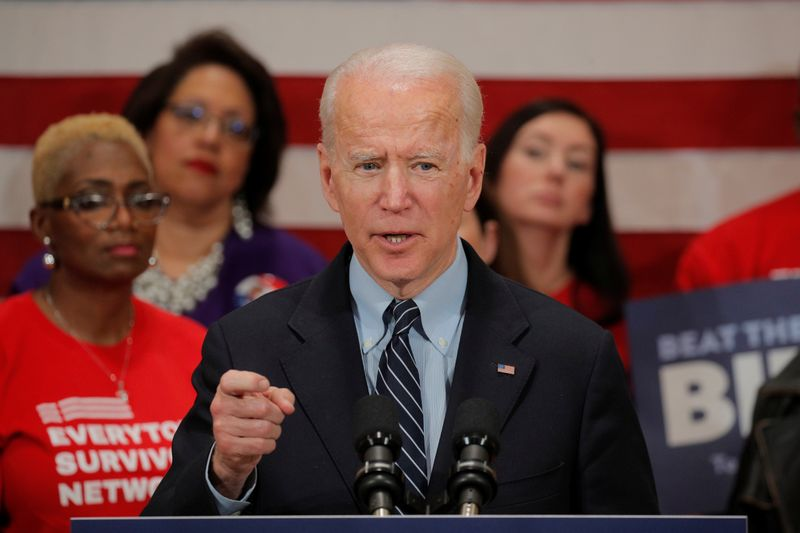 Democratic U.S. presidential candidate and former Vice President Joe Biden speaks during a campaign stop on gun violence in Columbus, Ohio
