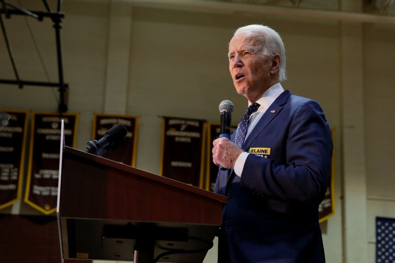Democratic U.S. presidential candidate and former U.S. Vice President Joe Biden speaks during a campaign event at Booker T. Washington High School in Norfolk