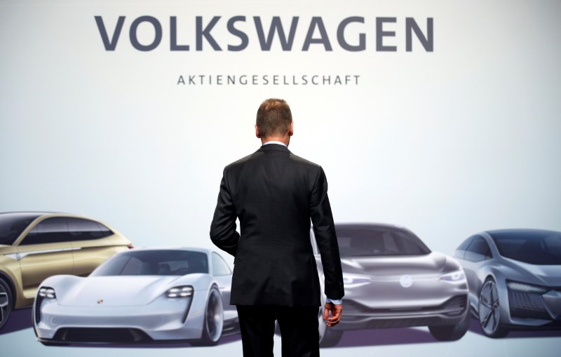 Diess, Volkswagen's new CEO, poses during the Volkswagen Group's annual general meeting in Berlin