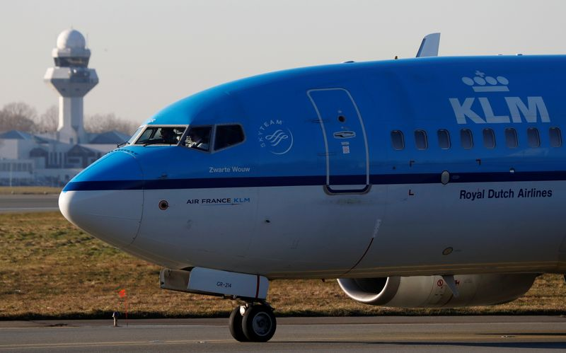 KLM Boeing 737 aircraft taxis to runway at the Chopin International Airport in Warsaw