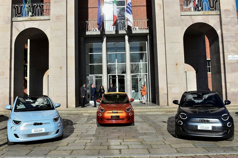 A new Fiat 500 electric car is unveil in Milan
