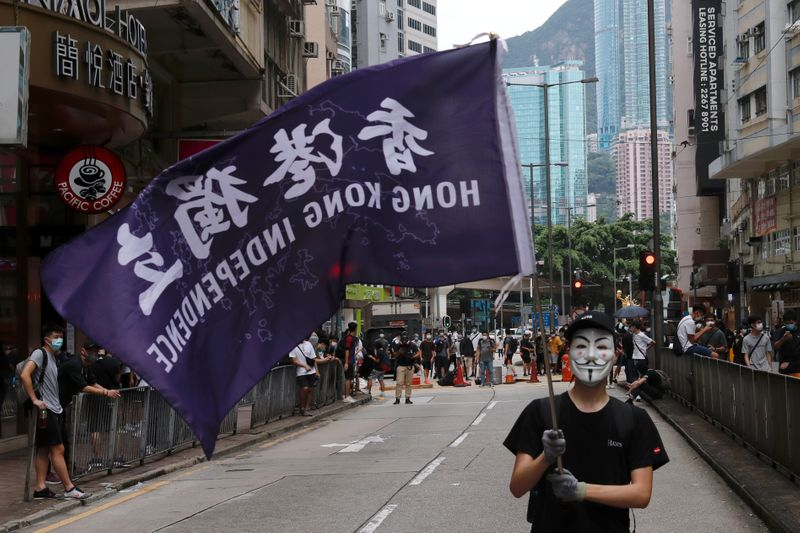 Anti-government protester holds a flag supporting Hong Kong independence
