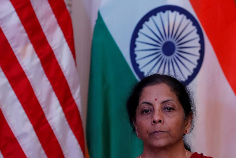 FILE PHOTO: India's Finance Minister Nirmala Sitharaman attends a joint news conference with U.S. Treasury Secretary Steven Mnuchin in New Delhi